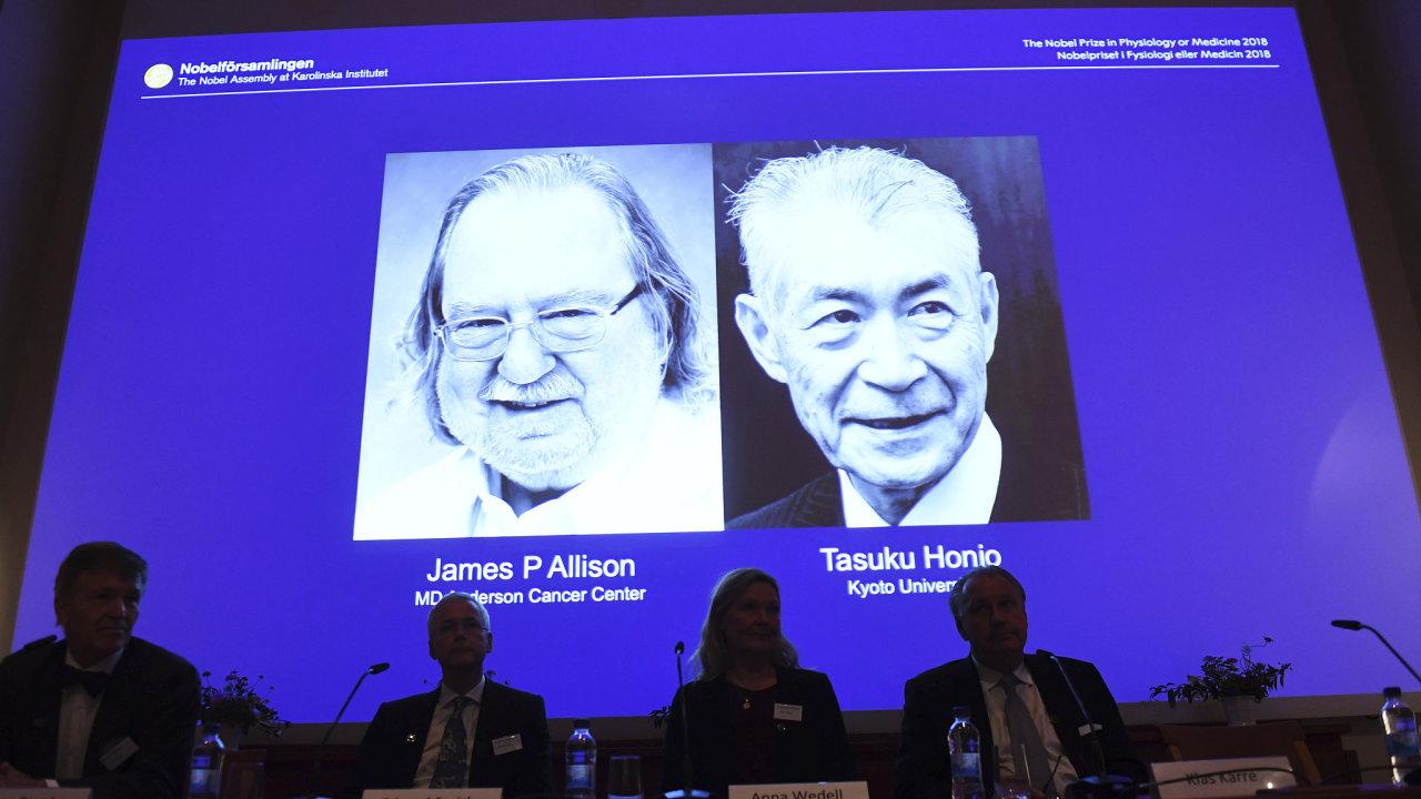 Nobelovu cenu za fyziologii a lékařství získali Američan James P. Allison a Japonec Tasuku Hondžó
