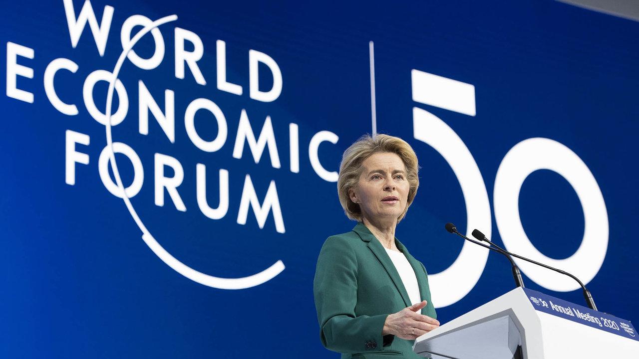 Šéfka Evropské komise Ursula von der Leyenová se soustředila především nachystaný klimatický plán zvaný Evropská zelená dohoda. Zástupce velkých společností apolitiky vyzvala, aby se připojili.