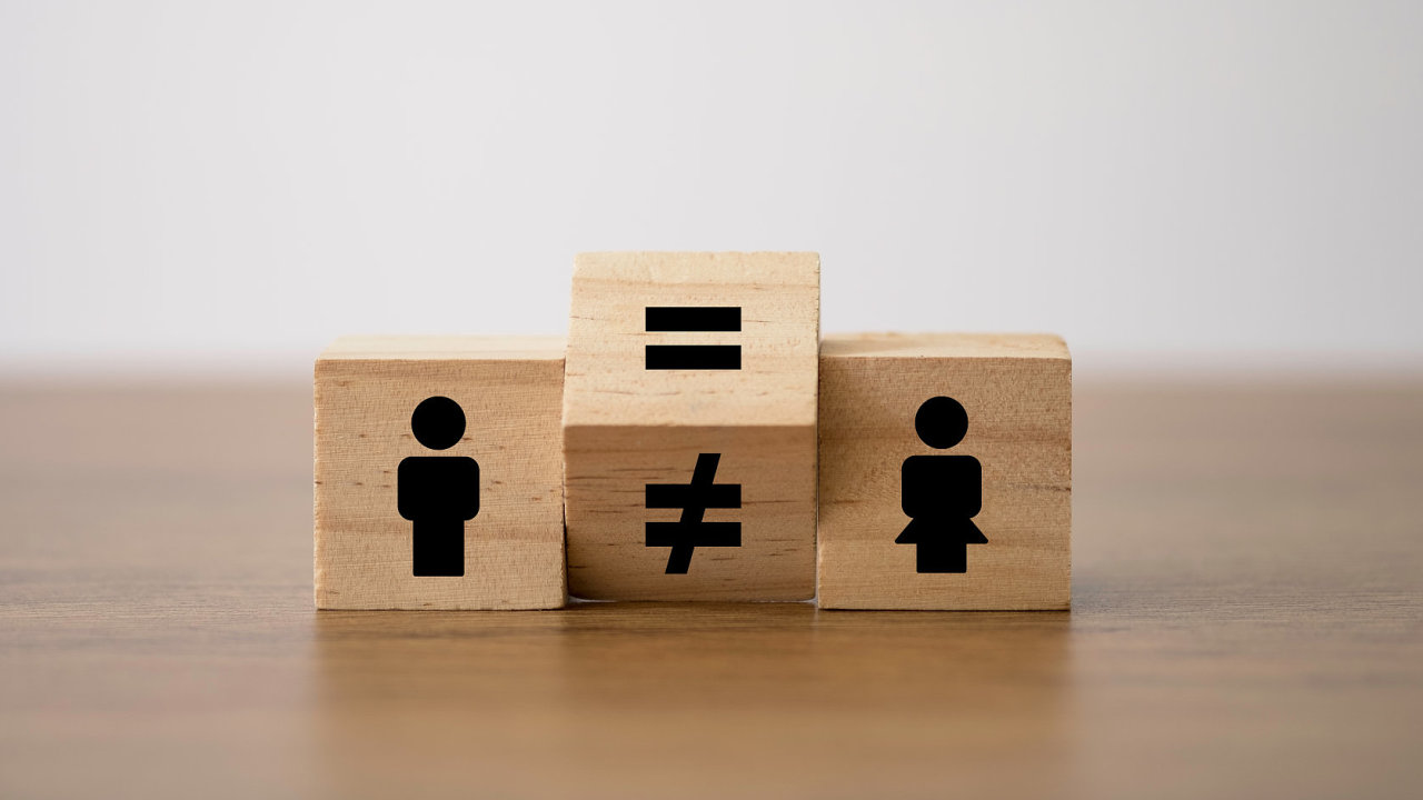 Flipping of unequal to equal sign between man and woman