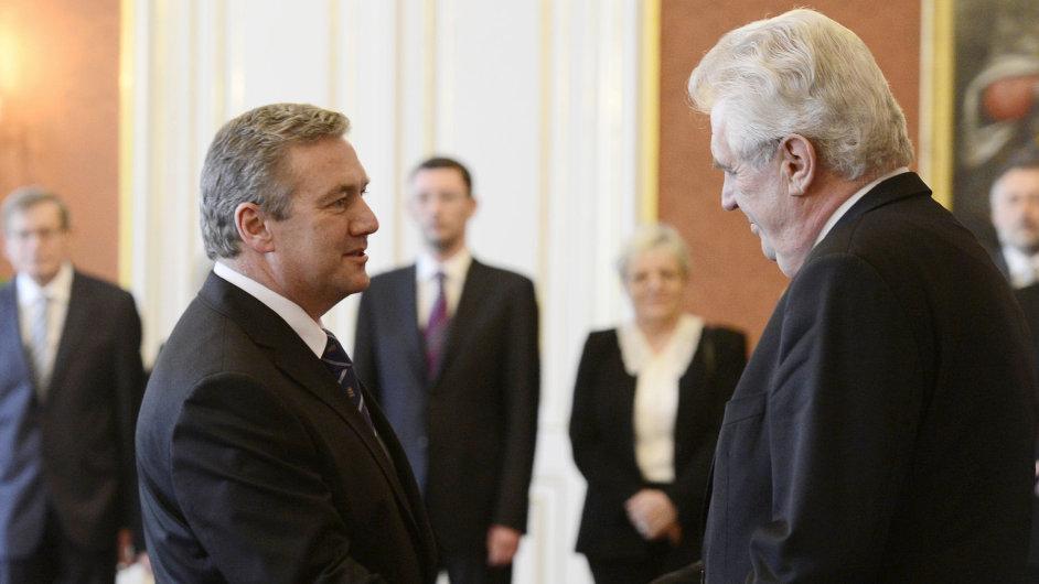 Nový ministr dopravy Antonín Prachař s prezidentem Zemanem