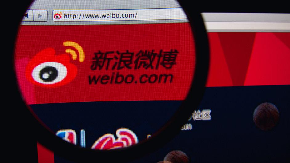 Úvodní stránka mikroblogovací sítě Weibo
