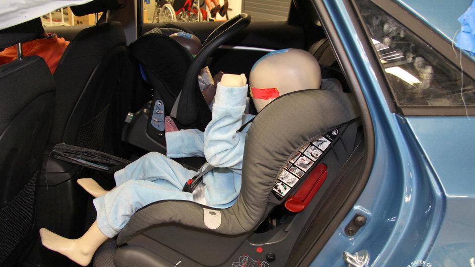 Figurína tříletého dítěte na zadním sedadle vozu Hyundai i30