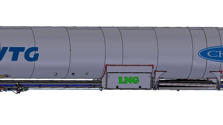 Železniční cisterna na přepravu LNG