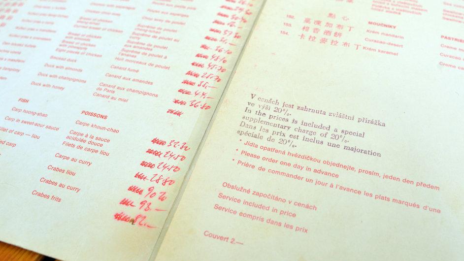 Jídelní lístek z roku 1958.