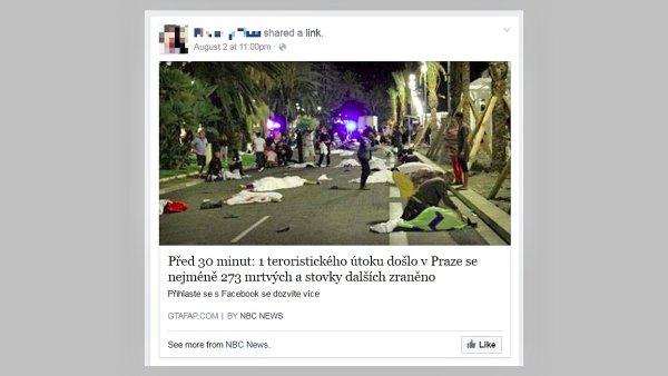 Falešná zpráva o teroristickém útoku v Praze na Facebooku