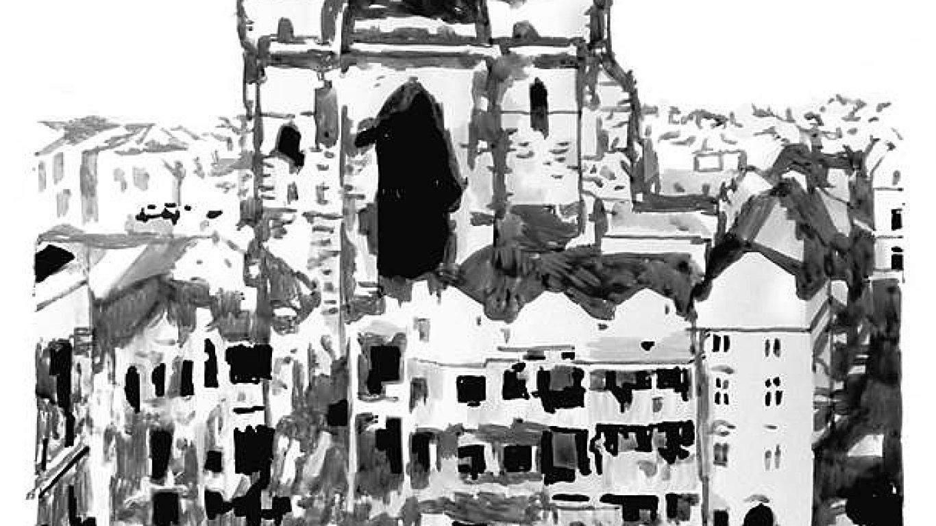Na snímku z výstavy je obraz Oto Hudce nazvaný Praha den po náletu.