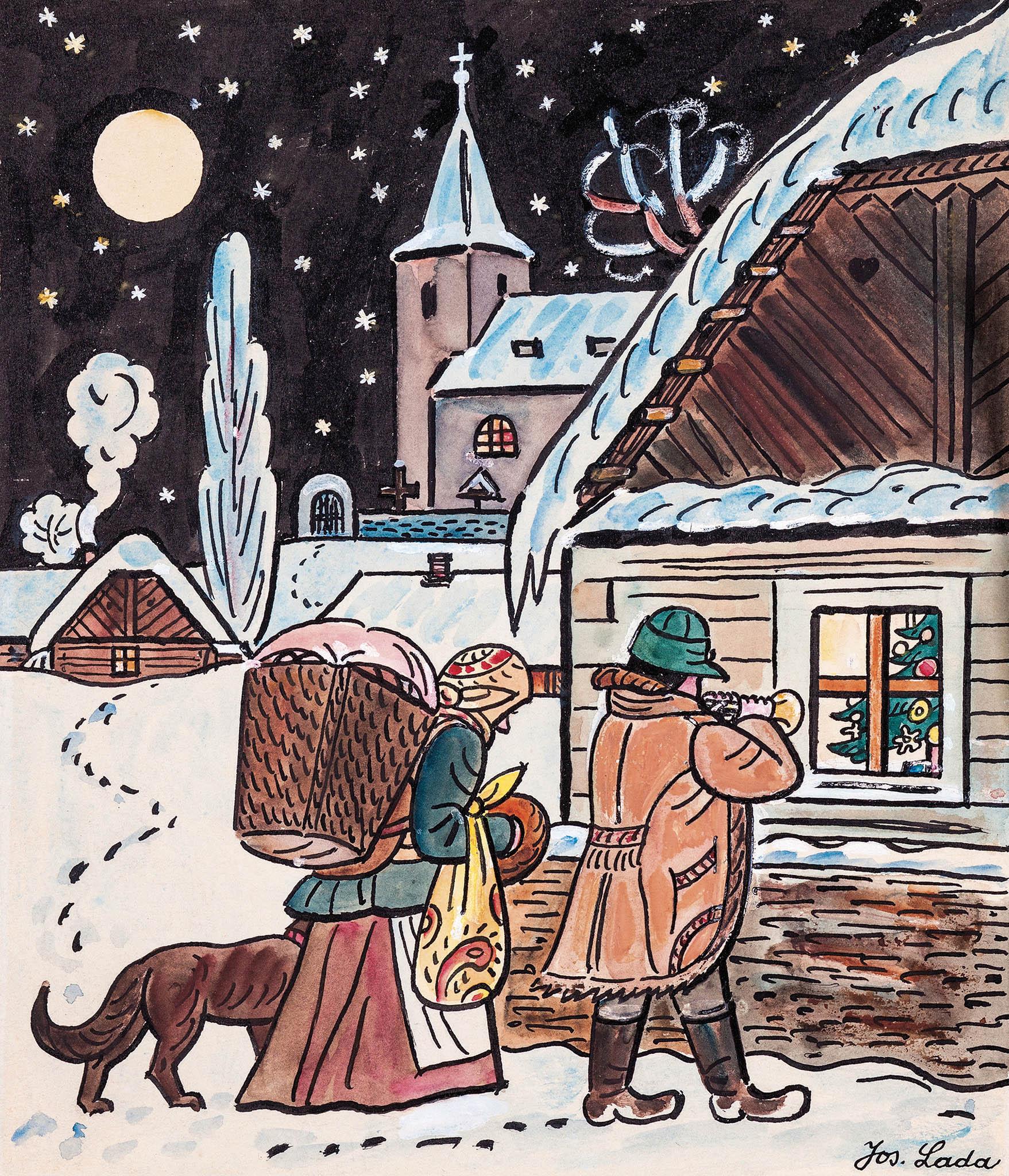 Štědrý večer od Josefa Lady bude k mání počátkem adventu. Vyvolávací cena je 550tisíc korun.