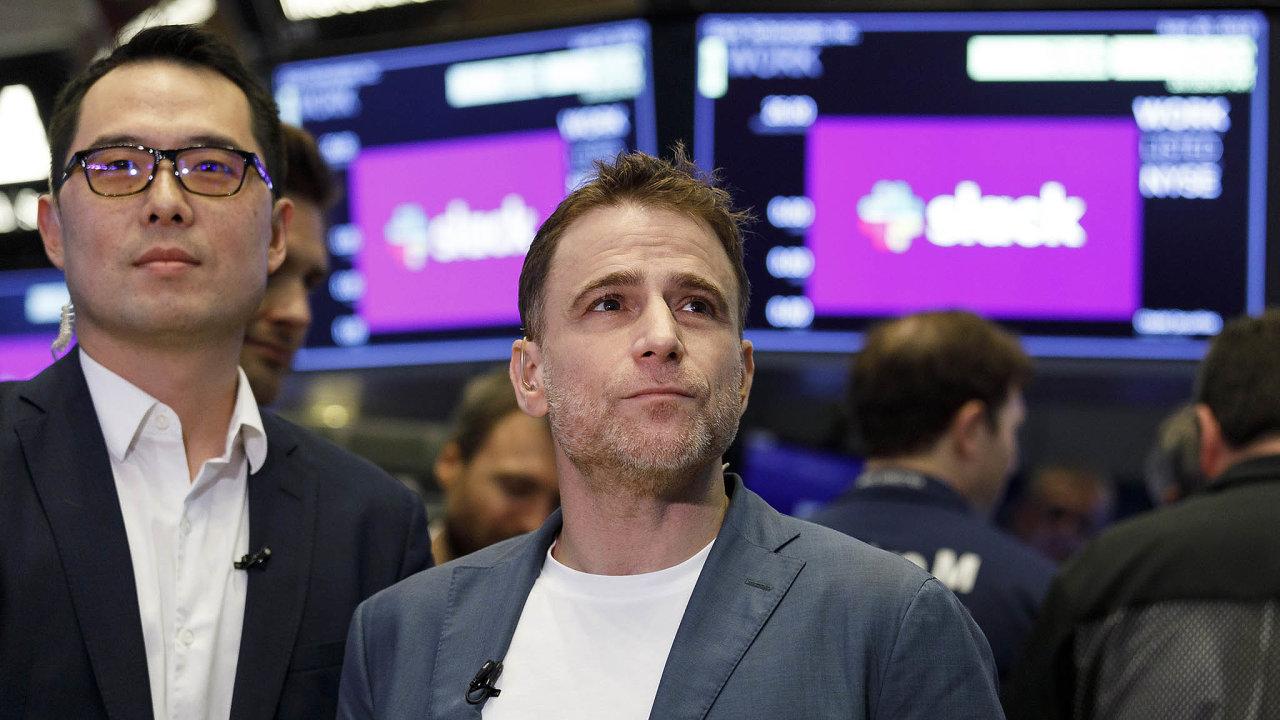 Když Slack loni včervnu vstoupil nanewyorskou burzu, jeho zakladatel Stewart Butterfield (vpravo) se zařadil mezi miliardáře.