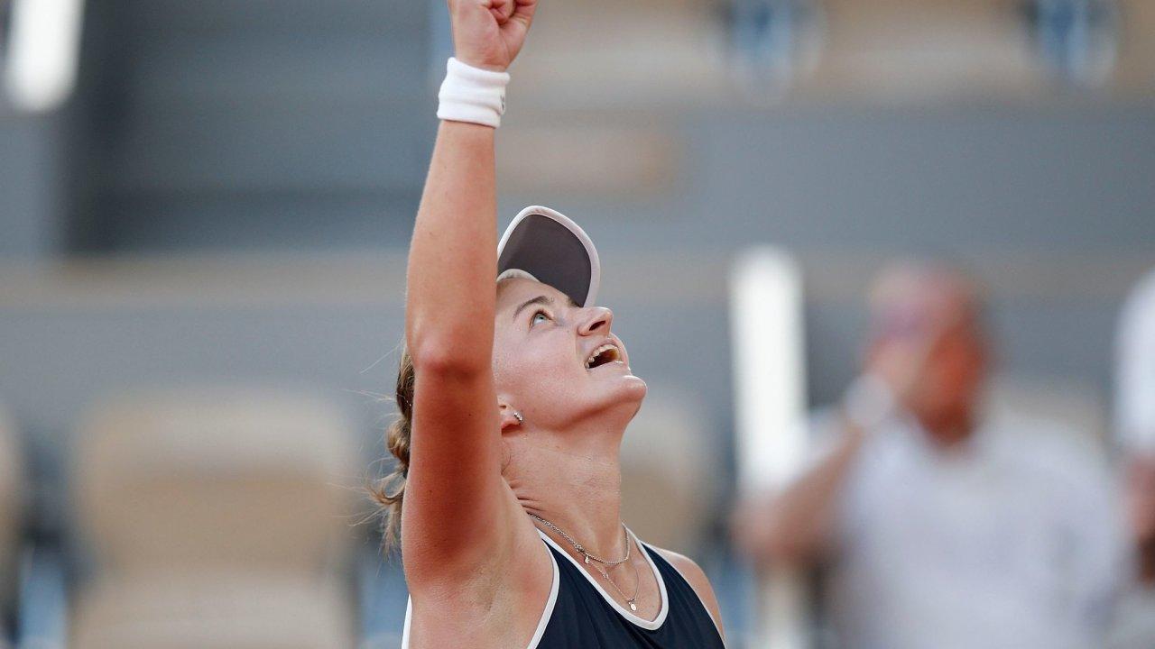 Česká tenistka Barbora Krejčíková po sobotním vítězství v semifinále French Open s Řekyní Sakkariovou