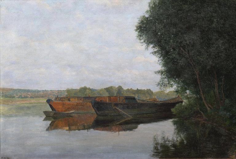 Josef Holub, Lodě naVltavě, 1913, olej naplátně, 44×65cm