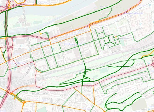 Náročnost cyklistických tras - Karlín a Vítkov