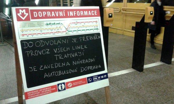 Upozornění pro cestující ve stanici Florenc, 2. prosince 2014