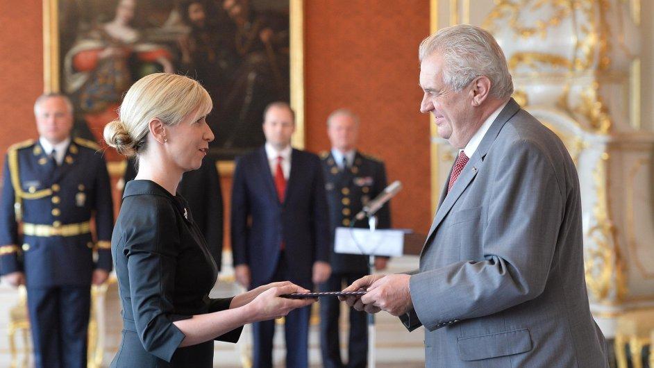 Prezident Miloš Zeman jmenoval 17. června na Pražském hradě Kateřinu Valachovou ministryní školství.