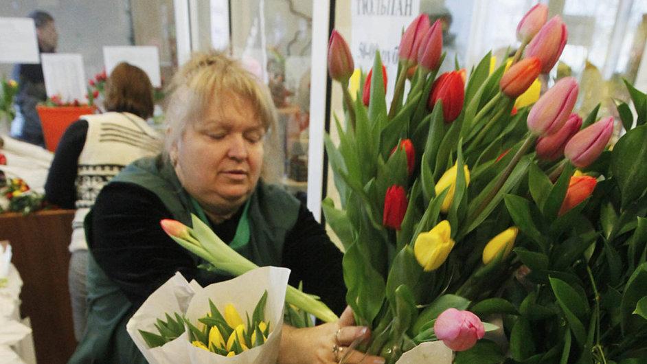 Květinářství v sibiřském Krasnojarsku.
