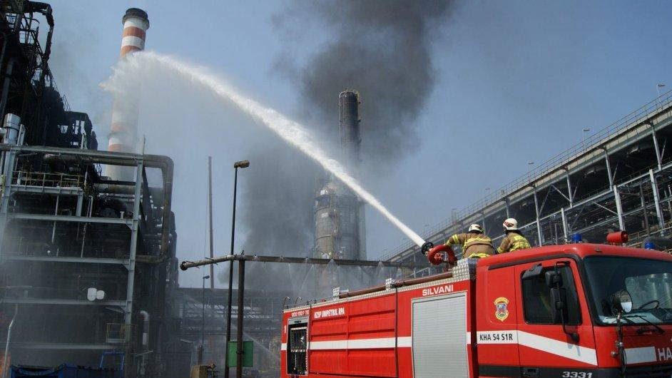 V litvínovské chemičce Unipetrol zasahovali ve čtvrtek hasiči.