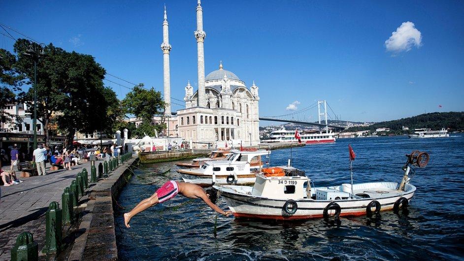 Turecko, Istanbul, moře, mešita, ilustrační foto
