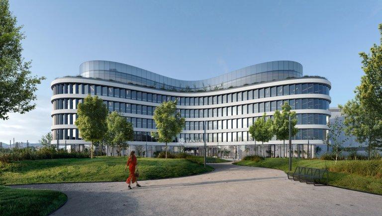 Návrh budovy je dílem studia Schindler Seko Architekti, které je již nyní podepsáno pod celou řadou významných staveb (vizualizace).