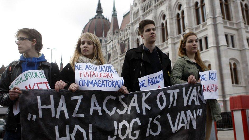 Protest proti změně maďarské ústavy
