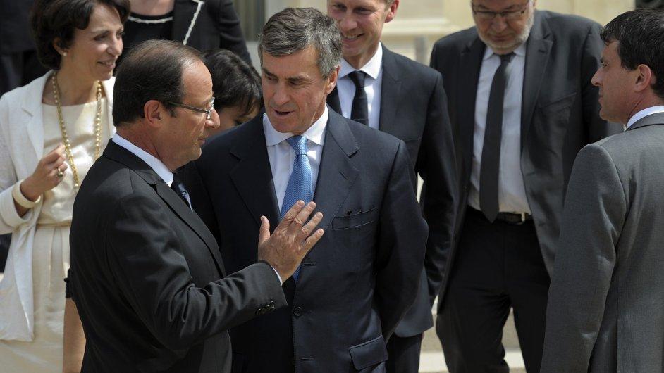Francouzský prezident Hollande s nynějším exministrem pro rozpočet Cahuzacem.