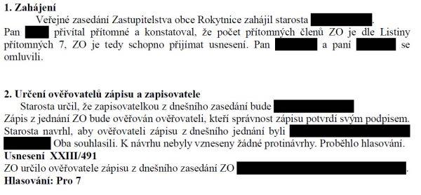 Ukázka ze zápisu zasedání zastupitelstva Rokytnice u Slavičína