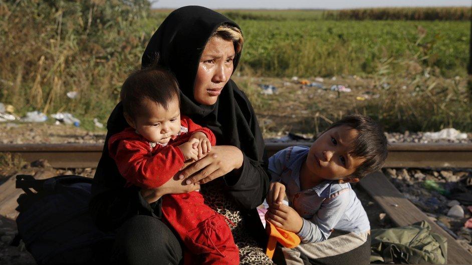 Uprchlíci ve vesnici Horgos