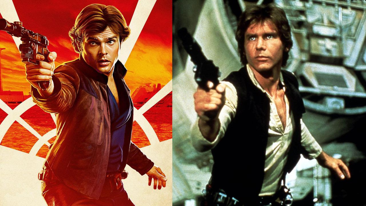 V novém filmu Solo: Star Wars Story pašeráka Hana Sola ztvárnil Alden Ehrenreich (vlevo). V původní trilogii Hvězdných válek a znovu v sedmé epizodě Hana Sola hrál Harrison Ford.