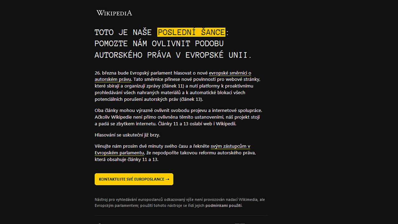 Wikipedie v Česku nefunguje až do čtvrteční půlnoci.