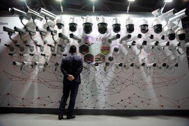 Sledovací kamery vystavené na konferenci Huawei Connect, která proběhla 18. září 2019 v Šanghaji.