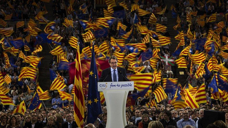 Předvolební mítink katalánského prezidenta Artura Mase