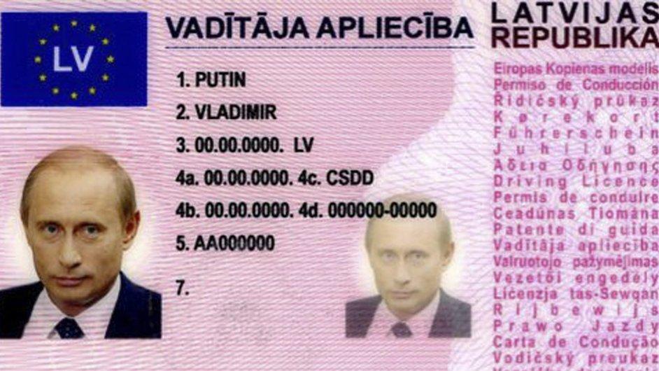 Falešný řidičský průkaz vystavený na jméno Vladimira Putina.