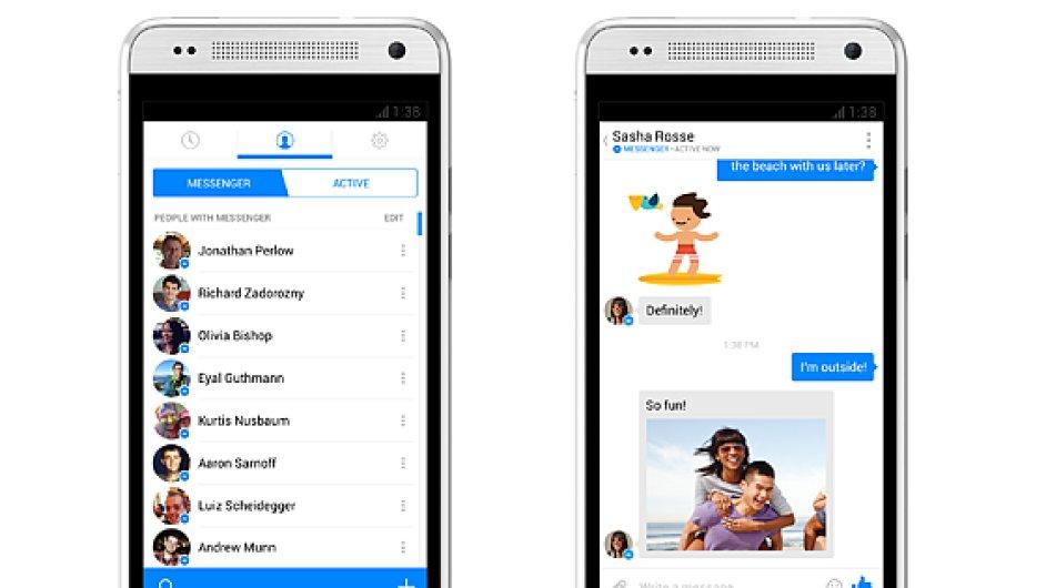 Podoba nové aplikace Messenger od Facebooku.