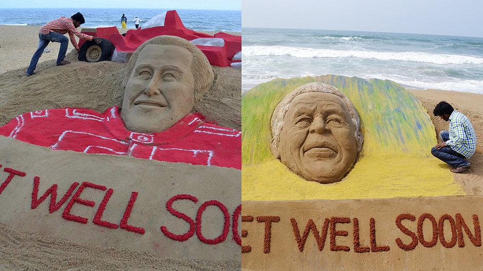 Schumacher a Mandela na pláži ve svatém městě Puri. Písečné plastiky, které zhotovil sochař Sudaršan Pattnaik