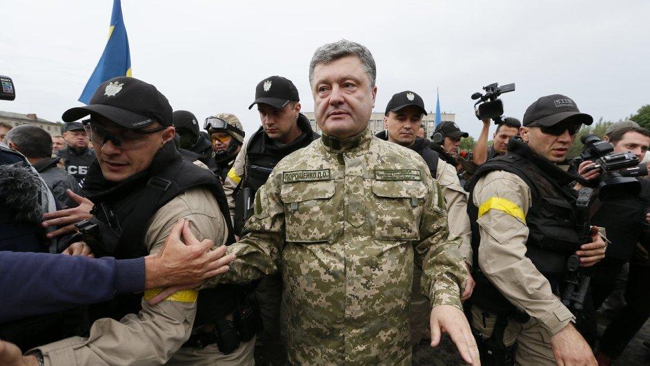 Ukrajinský prezident Petro Porošenko na návštěvě Slavjanska