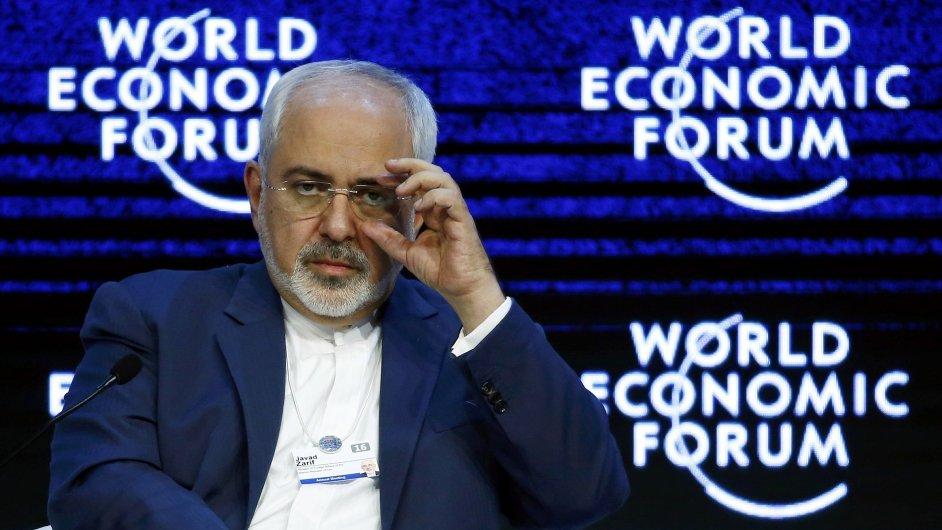 Íránský ministr zahraničí Džavád Zaríf na setkání v Davosu. Jednání se Saúdy dopadlo krachem.