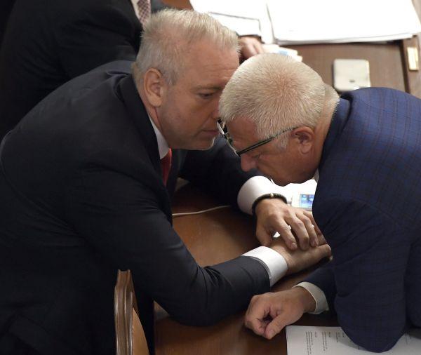 Ministr vnitra Milan Chovanec (vlevo) a první místopředseda hnutí ANO Jaroslav Faltýnek na schůzi Poslanecké sněmovny.