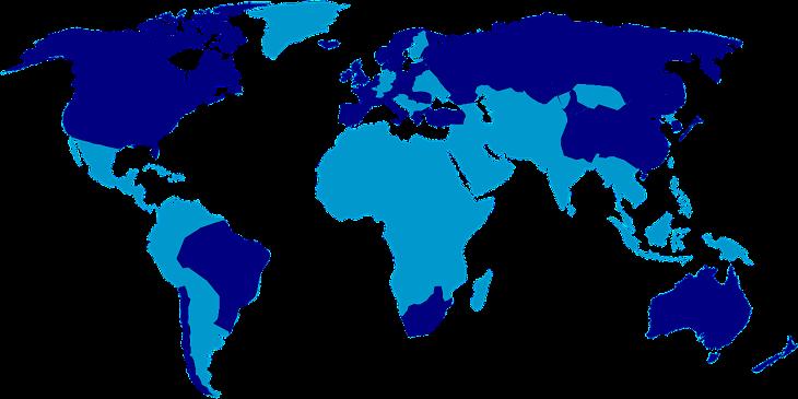 Tmavě modrou barvou vyznačeny země využívající odpočet na VaV.
