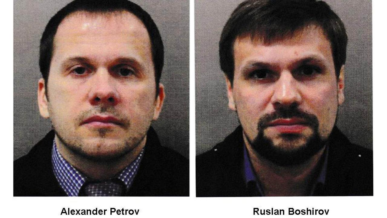 Alexandr Petrov aRuslan Boširov - údajní vrazi, kteří otrávili nervovým jedem novičok bývalého dvojitého agenta Sergeje Skripala ajeho dceru Julii.