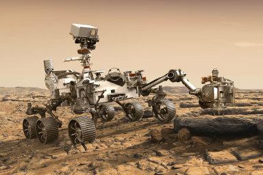 Narudou planetu se letos chystá vyslat výzkumný rover jak americká NASA (nasnímku), tak Rusové vespolupráci sEvropskou kosmickou agenturou. Chystají se hledat stopy dávného života naMarsu.