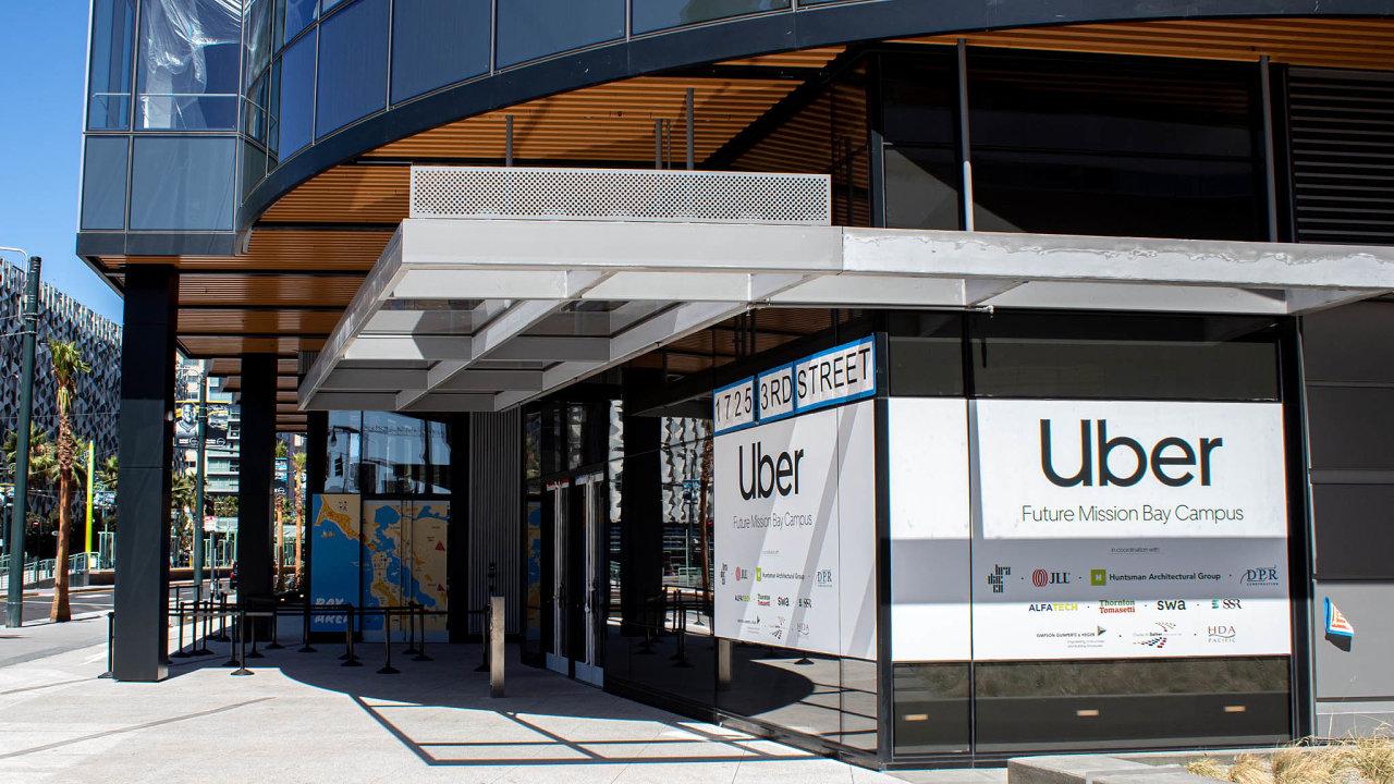 Sídlo Uberu vkalifornském San Francisku. Společnost založili vroce 2009 Američané Travis Kalanick aGarrett Camp pod názvem UberCab.