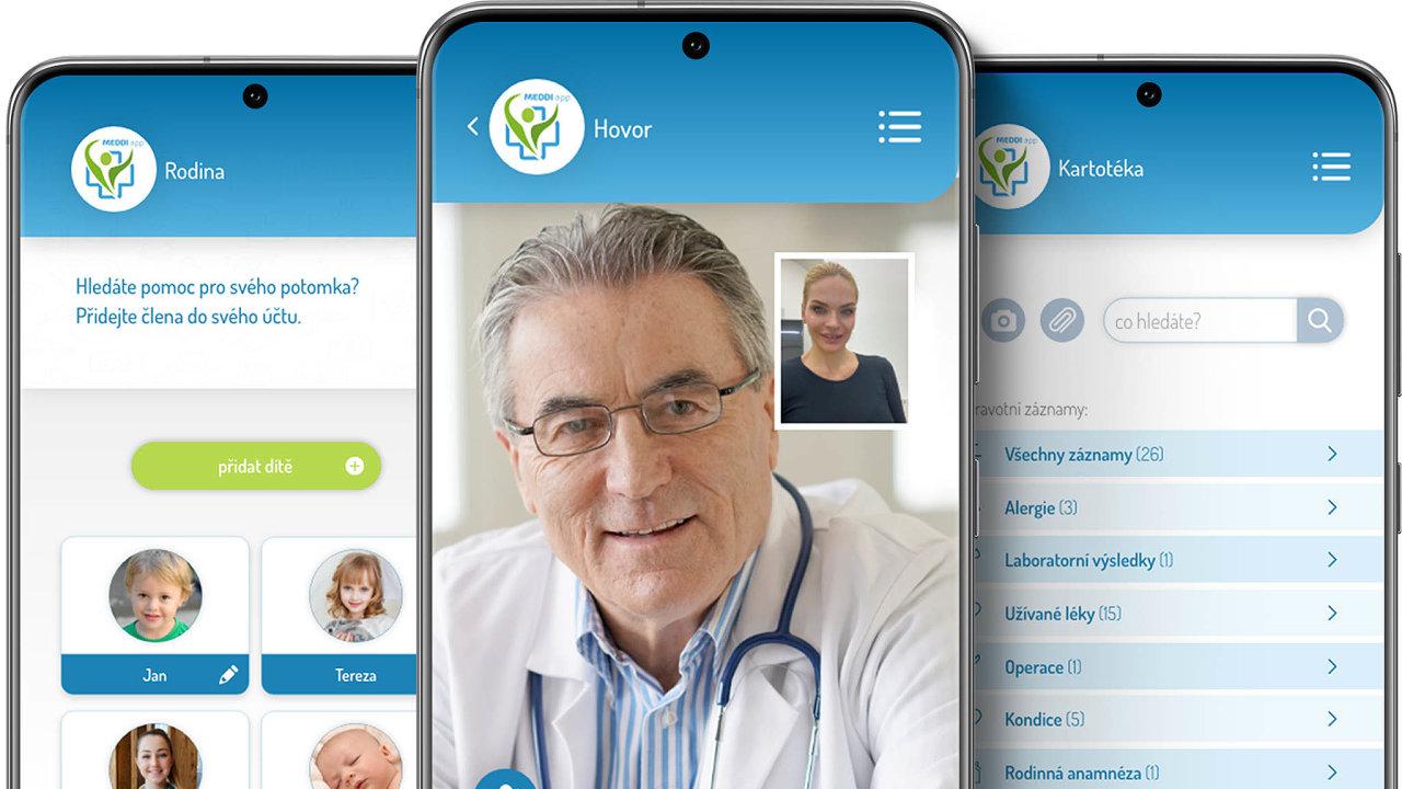 Klékaři zmobilu: Česká aplikace Meddi app umožňuje komunikovat slékaři formou on-line chatu či videohovoru. Vjejí aplikaci se dá vzabezpečené formě sdílet izdravotní dokumentace.