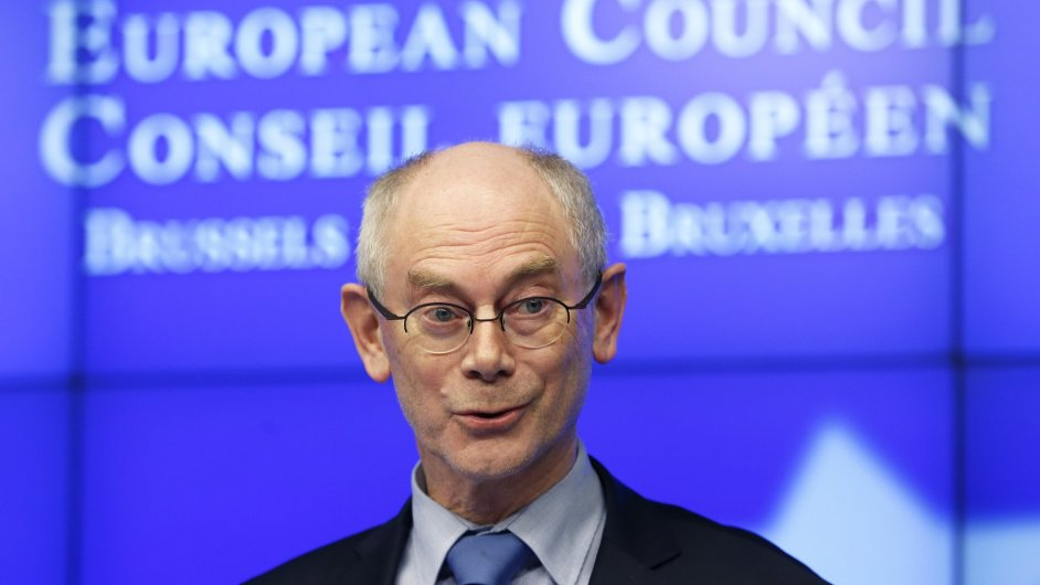 Herman Van Rompuy na tiskové konferenci po dosažení dohody nad rozpočtem EU