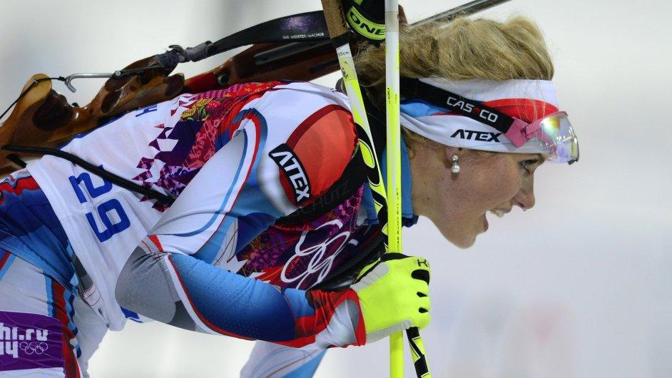 Gabriela Soukalová při olympijském závodu v Krasné Poljaně