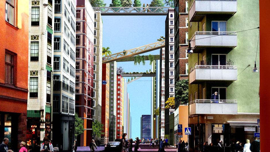Nové bytové domy ve Stockholmu budou propojovat mosty.