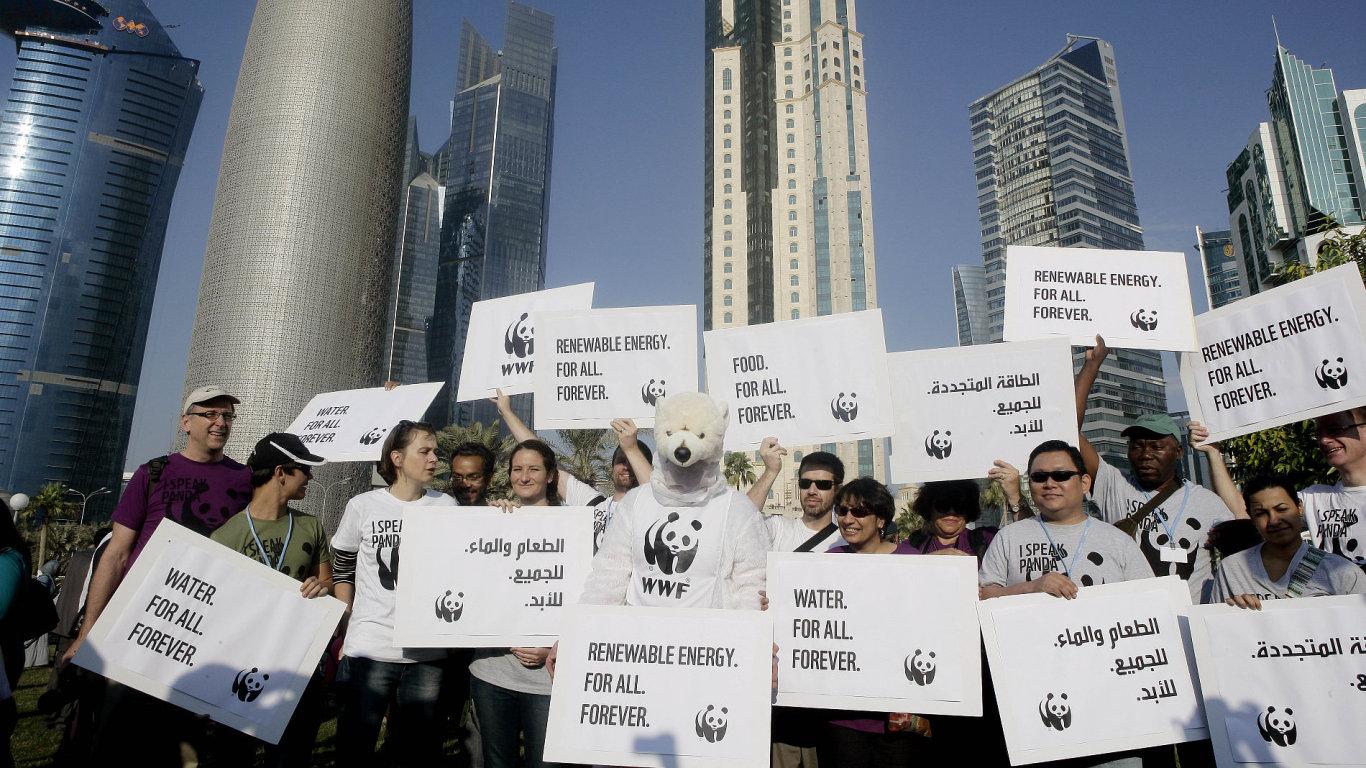 Ekologičtí aktivisté během konference v Dauhá.