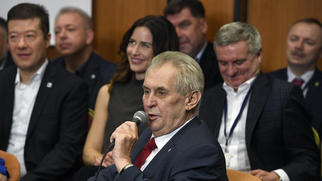 Prezident Miloš Zeman na tiskové konferenci v TOP Hotelu Praha