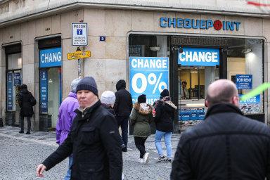 Směnárna Chequepoint v Praze, jejíž ceny koruny byly mnohdy výrazně odlišné od kurzu ČNB.