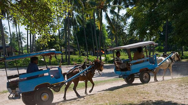 Dopravu na indonéských ostrovech Gili zajišťují bryčky.