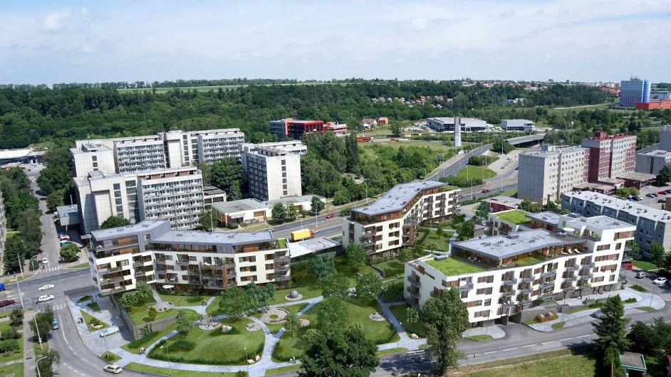 Ve třech bytových domech nabídne Park Hloubětín celkem 125 bytů s balkonem nebo terasou o velikostech