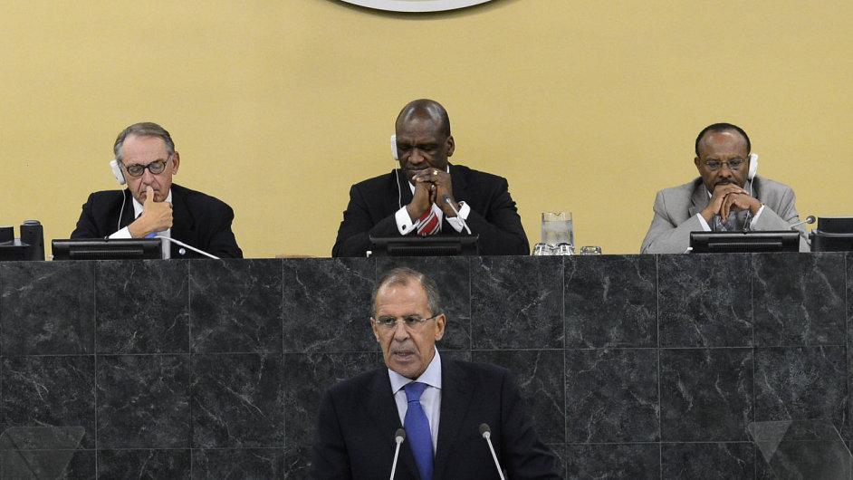 Ruský ministr zahraničí Sergej Lavrov na zasedání Rady bezpečnosti OSN