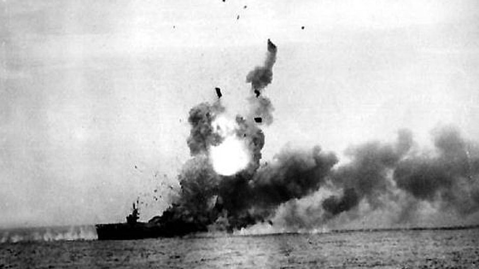 Musashi St Lo exploded after a kamikaze strike